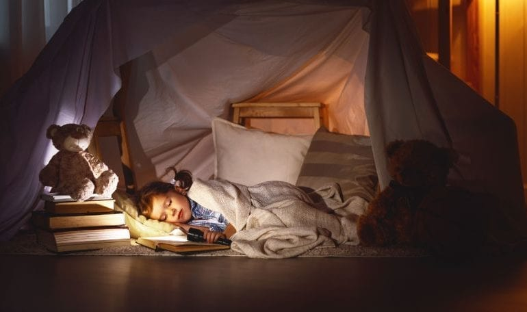 Child Camping Indoors