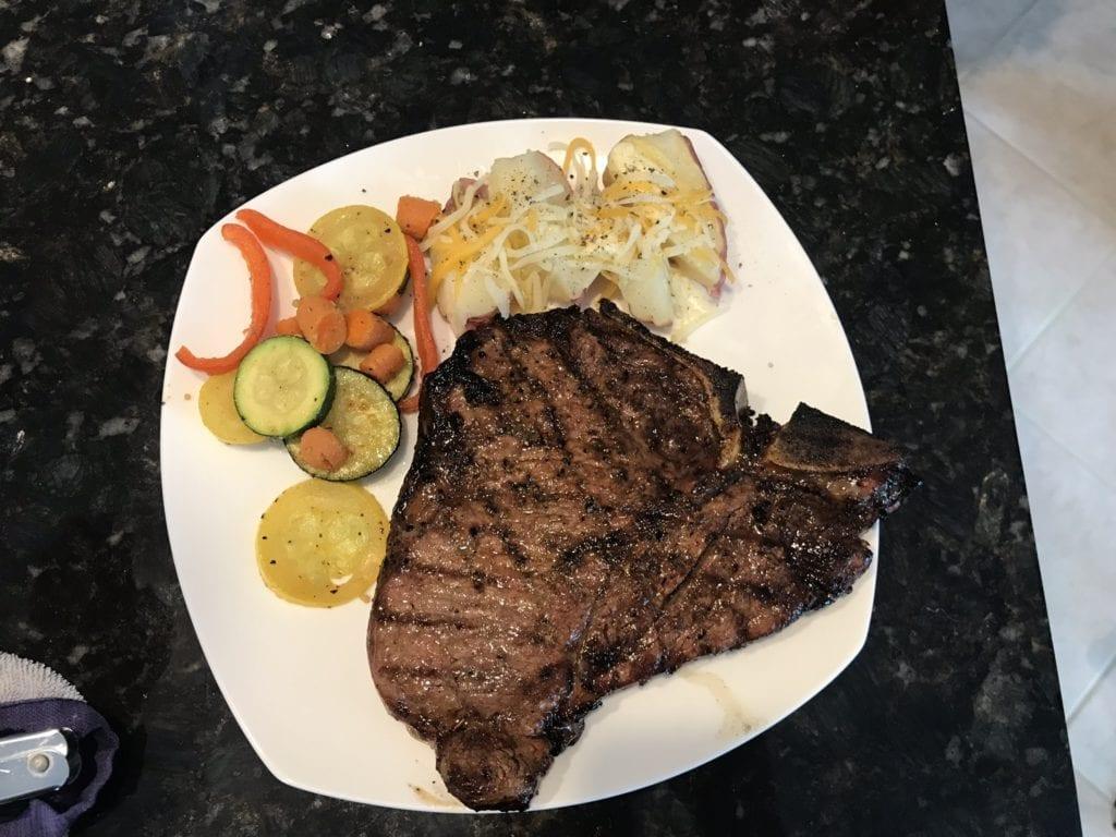 T-Bone Steaks Plated