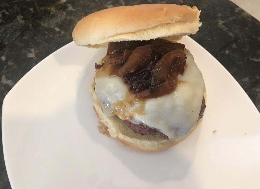 Big Green Egg Oberon Beer Burger W/ Caramelized Onions
