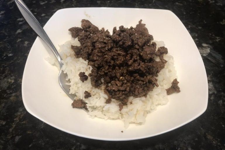 Korean Ground Beef Rice Bowl on Blackstone Griddle
