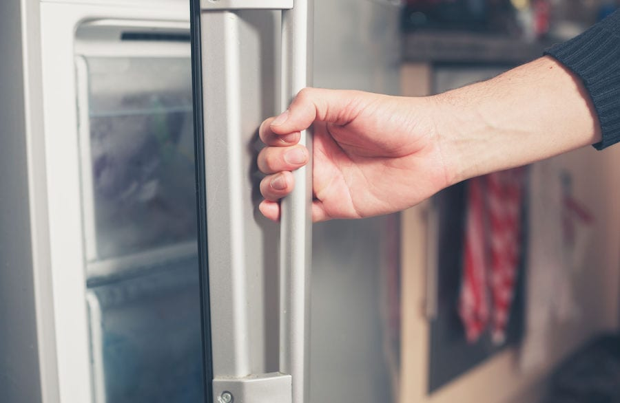 Opening the fridge