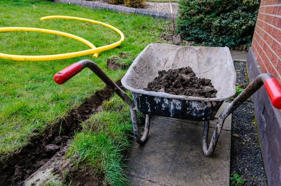 Trench Dug for Water Drainage