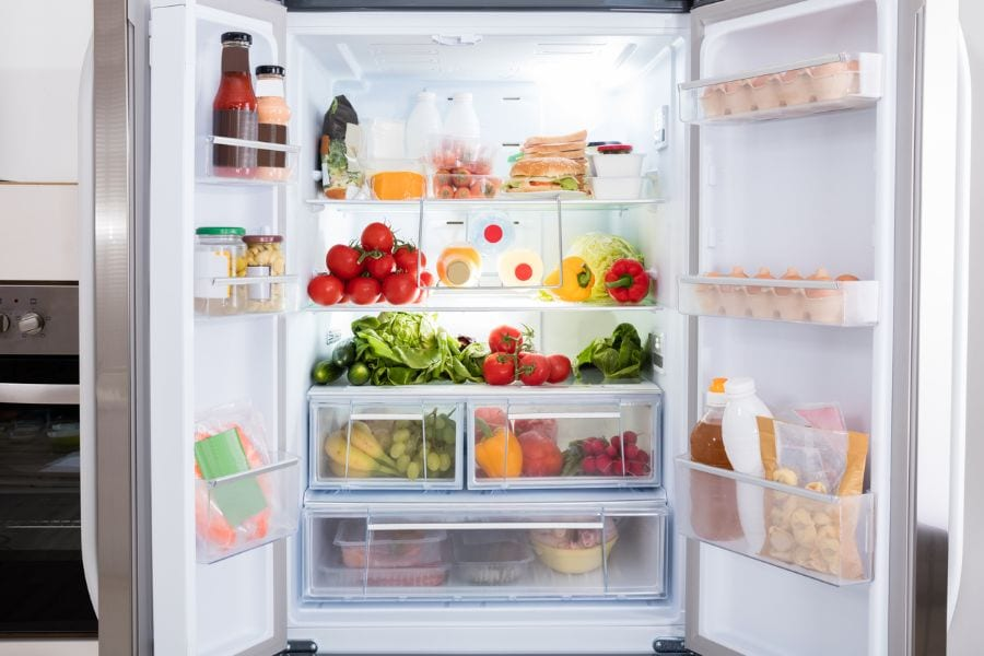 Open Refrigerator With Fruits and Vegetables