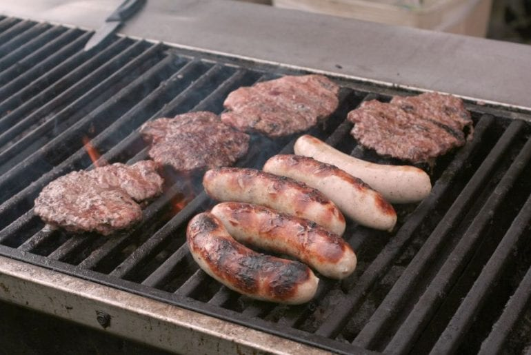 Brats on Grill