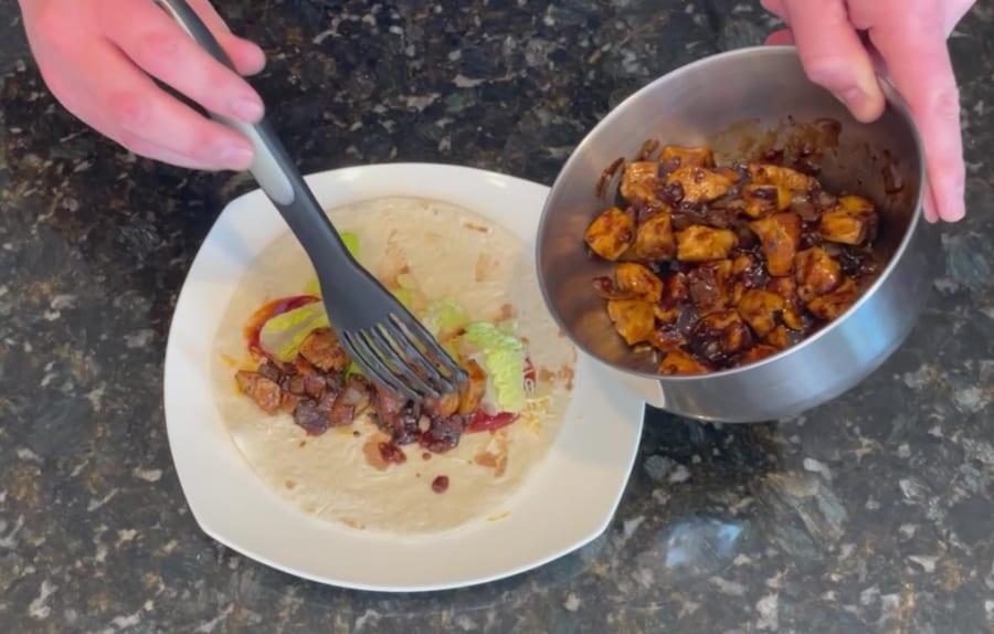 Own - Zesty Honey BBQ Chicken Wrap on the Blackstone Griddle - Add BBQ Chicken
