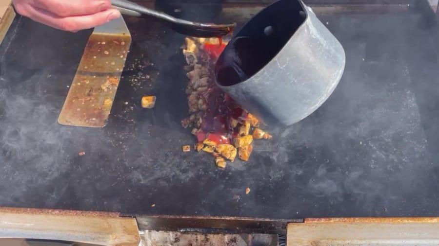 Own - Zesty Honey BBQ Chicken Wrap on the Blackstone Griddle - Add Half the BBQ Sauce