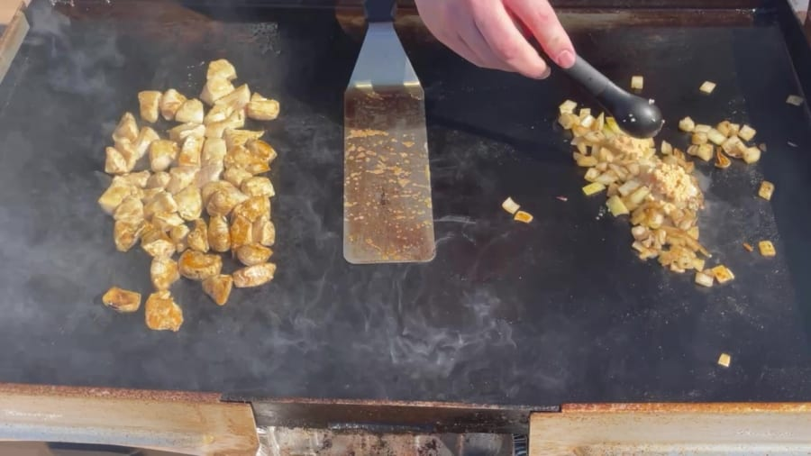 Own - Zesty Honey BBQ Chicken Wrap on the Blackstone Griddle - Add Minced Garlic