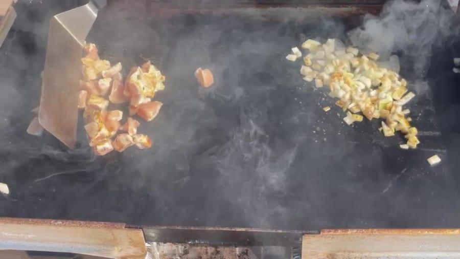 Own - Zesty Honey BBQ Chicken Wrap on the Blackstone Griddle - Cook Chicken & Saute Onions
