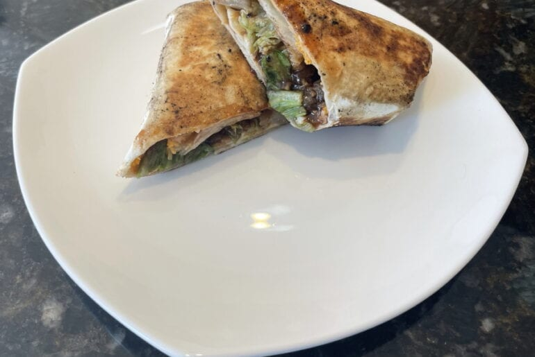 Own - Zesty Honey BBQ Chicken Wrap on the Blackstone Griddle - Plated