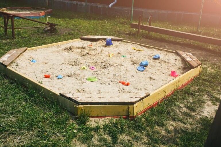 Sandbox in Backyard