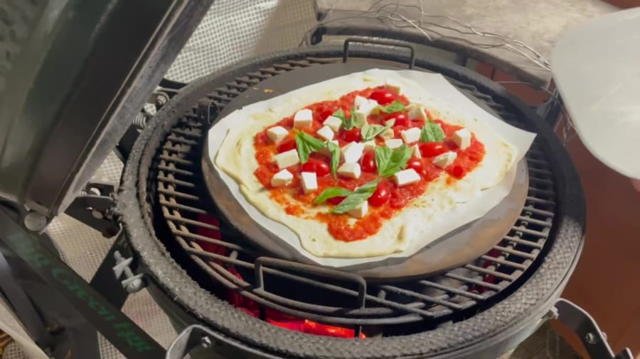 Own - Margherita Pizza on the Big Green Egg - Place Margherita Pizza on BGE