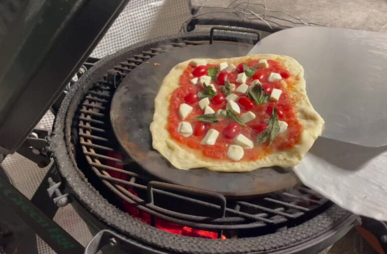Own - Margherita Pizza on the Big Green Egg - Turn and Remove Parchment Paper