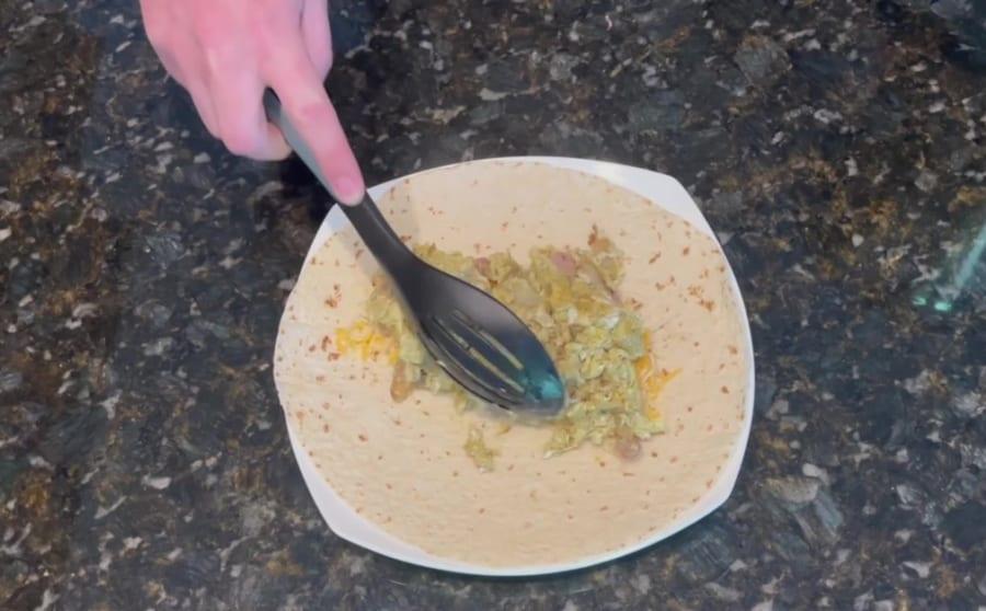 Own - Breakfast Burrito on the Blackstone Griddle - Add Scramble Eggs, Ham, Green Peppers & Onion