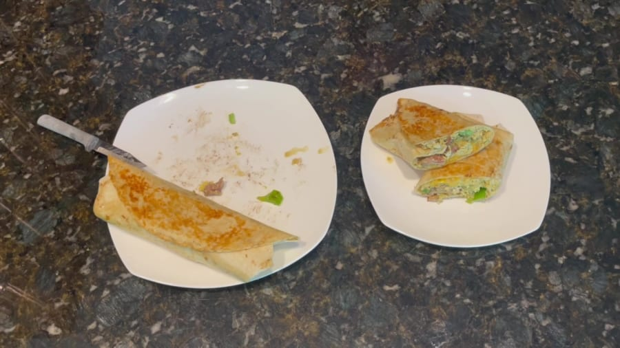 Own - Breakfast Burrito on the Blackstone Griddle - Plate and Serve