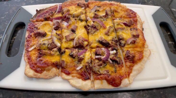 Own - Homemade Bbq Brisket Pizza on the Big Green Egg (Kamado) - Cut BBQ Brisket Pizza