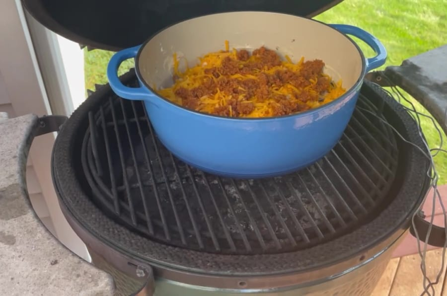 Own - Smoked Brisket Mac and Cheese on the Big Green Egg - Cook on Big Green Egg