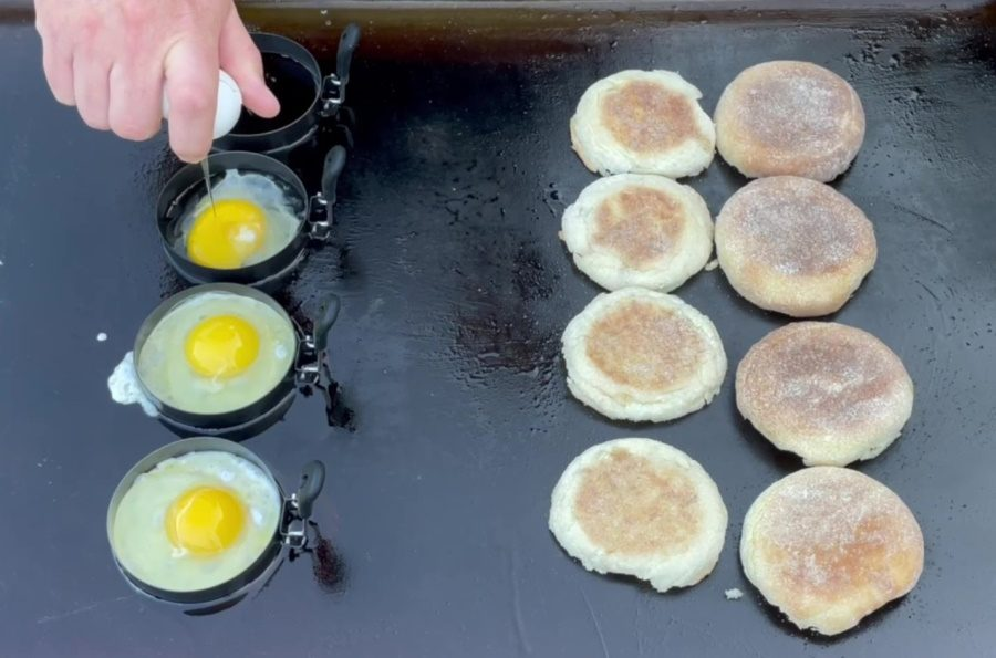 Egg McMuffin's on the Blackstone Griddle - Add the Eggs to the Egg Ring