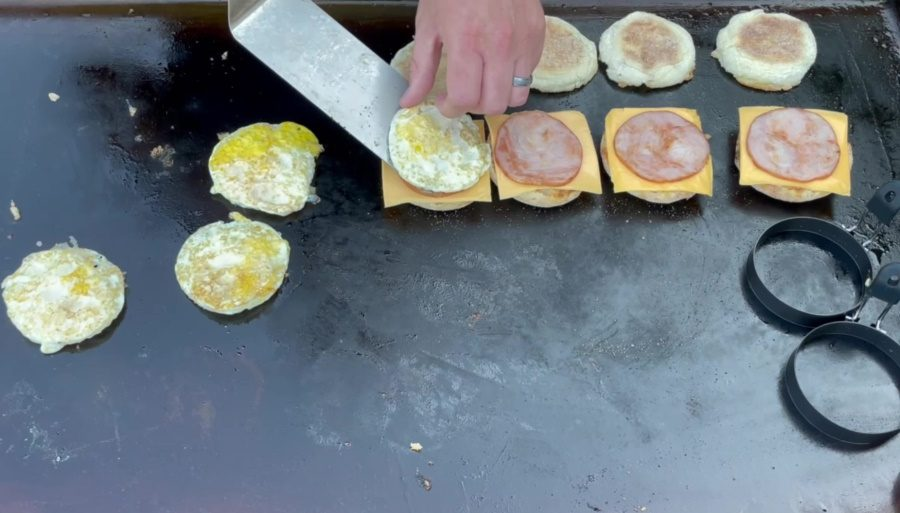 Egg McMuffin's on the Blackstone Griddle - Add the Round Egg