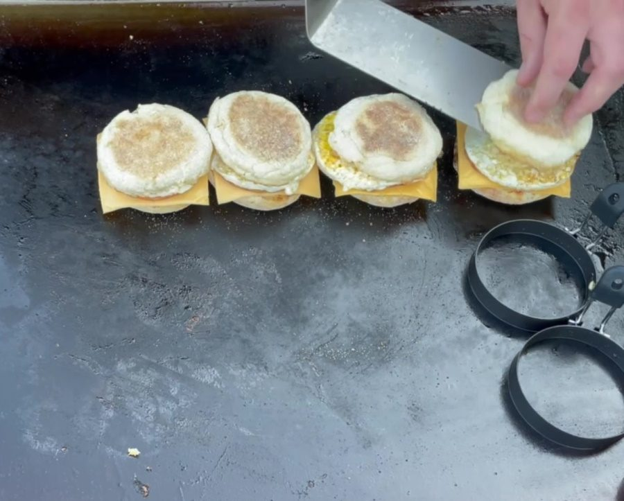 Egg McMuffin's on the Blackstone Griddle - Add the Tops