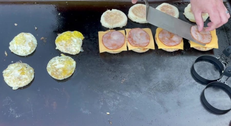 Egg McMuffin's on the Blackstone Griddle - Asssemble the Canadian Bacon