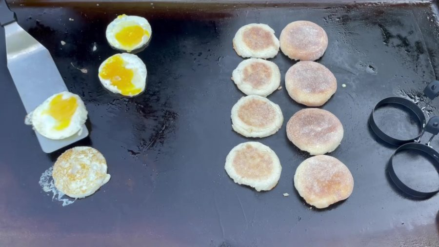 Egg McMuffin's on the Blackstone Griddle - Flip the Eggs