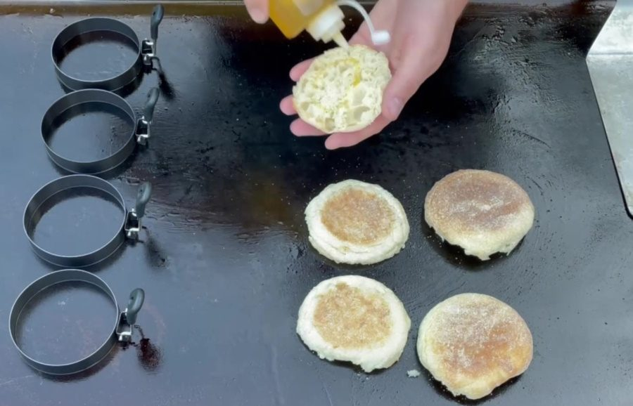 Egg McMuffin's on the Blackstone Griddle - Oil & Toast The Muffins