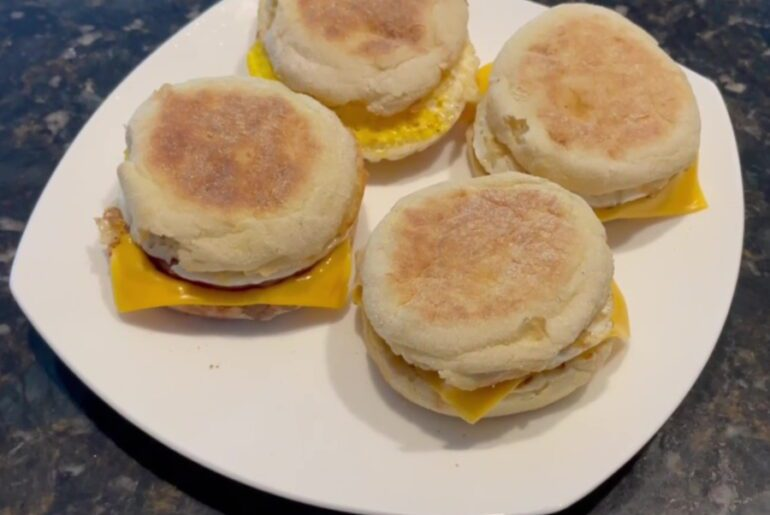 Egg McMuffin's on the Blackstone Griddle - Plate & Serve