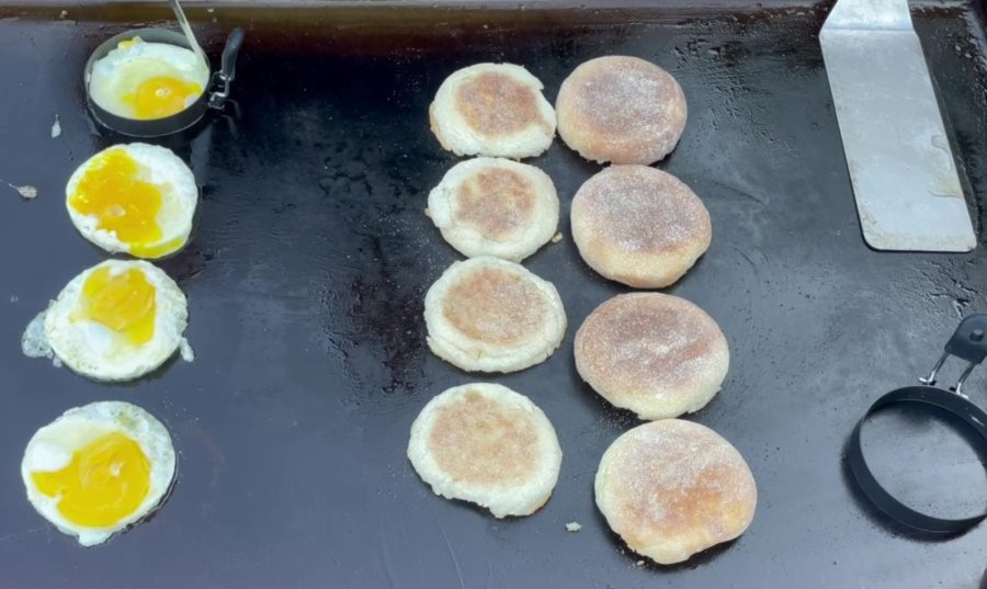 Egg McMuffin's on the Blackstone Griddle - Remove the Egg Rings