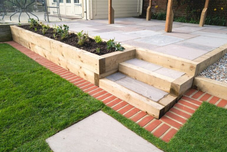 Raised Bed Garden Next to Patio