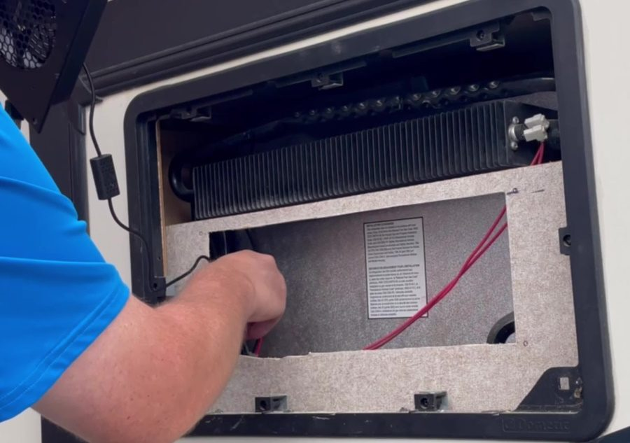 Travel Trailer RV Camper Fridge Does Not Cool on Hot Days - Fish Fan Wires Down Cavity