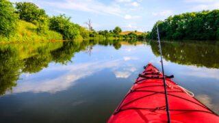 Fishing on a Lake in a Kayak